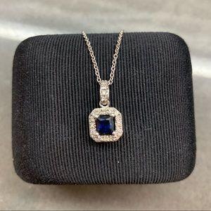 Jewelry - 💎 Diamond Necklace Sapphire Pendant Silver 925